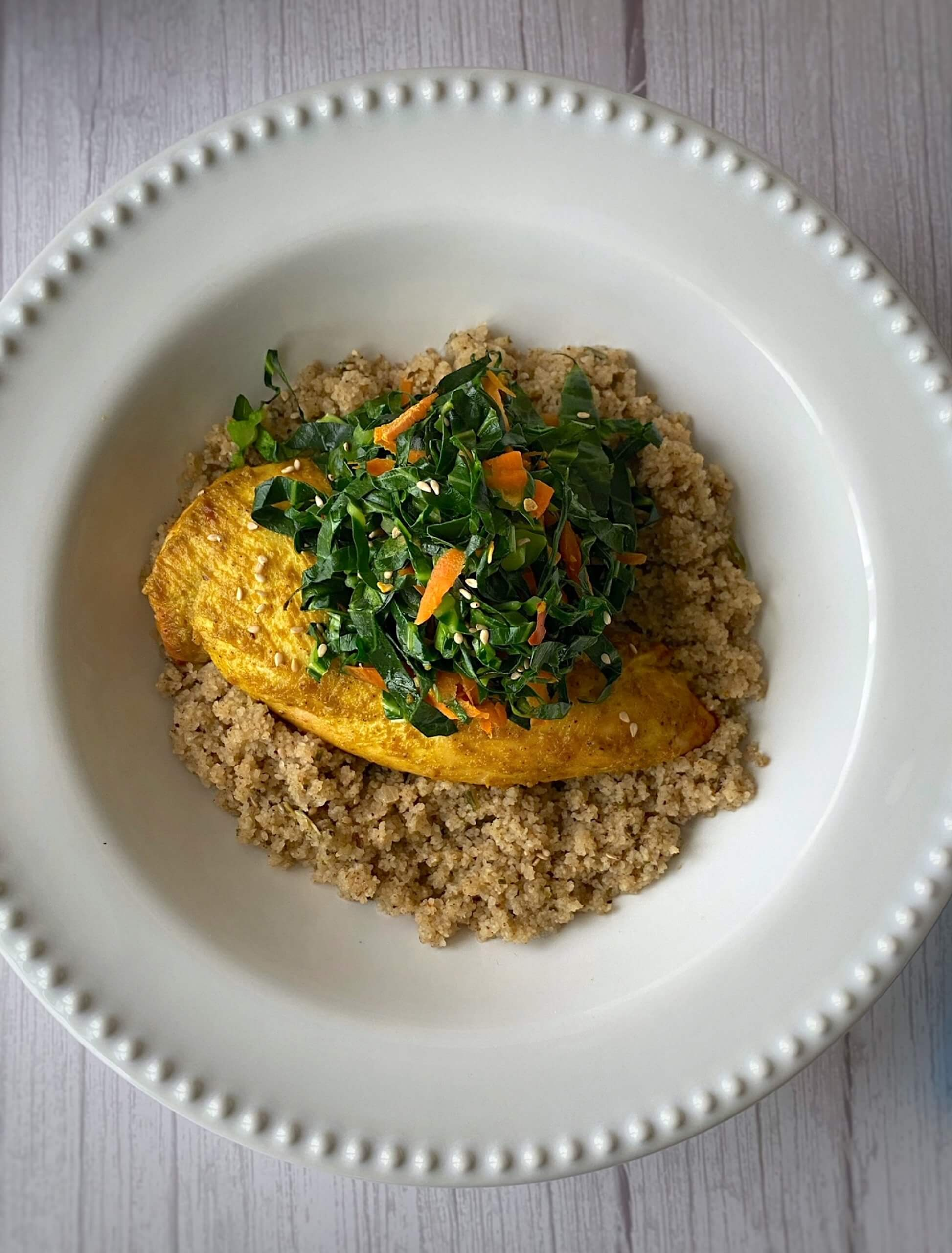 Turmeric   Tahini   Roast Chicken   and Fonio